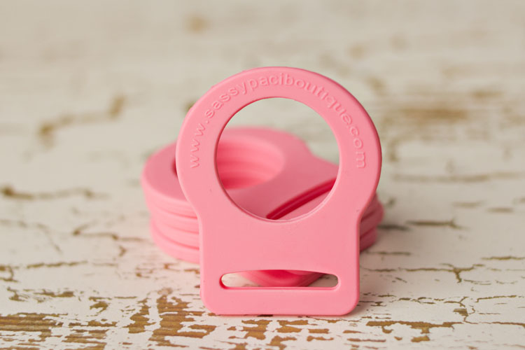 Adapter - Pink Button Pacifier Ring