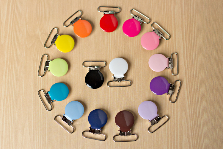 Enamel Round 1-inch Pacifier Clip LEAD FREE