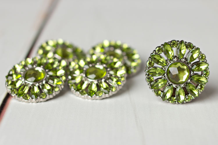 Amy - Artichoke Rhinestone Button