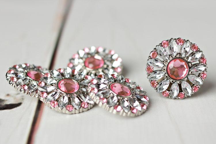 Amy - Clear/Light Pink Rhinestone Button