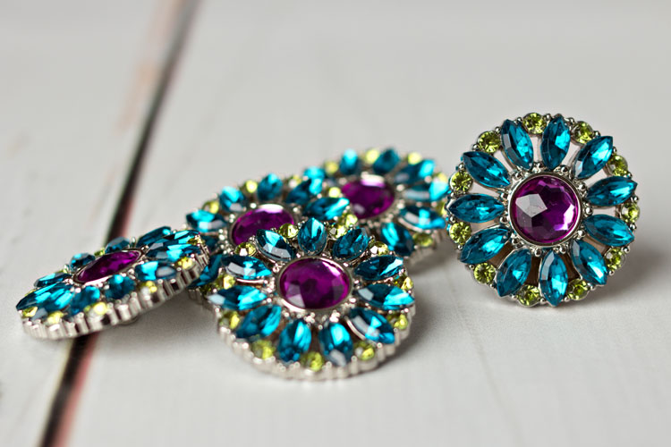 Amy -  Teal/Purple/Artichoke Rhinestone Button