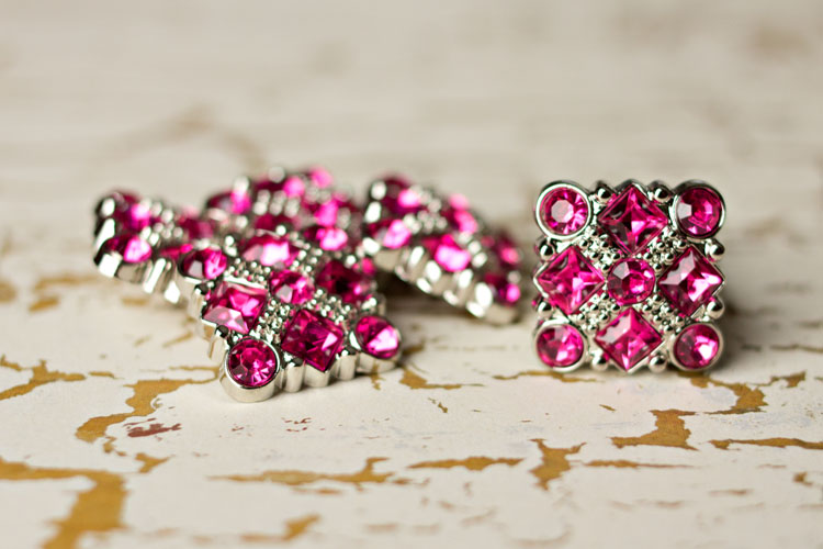 Diane - Hot Pink Rhinestone Button