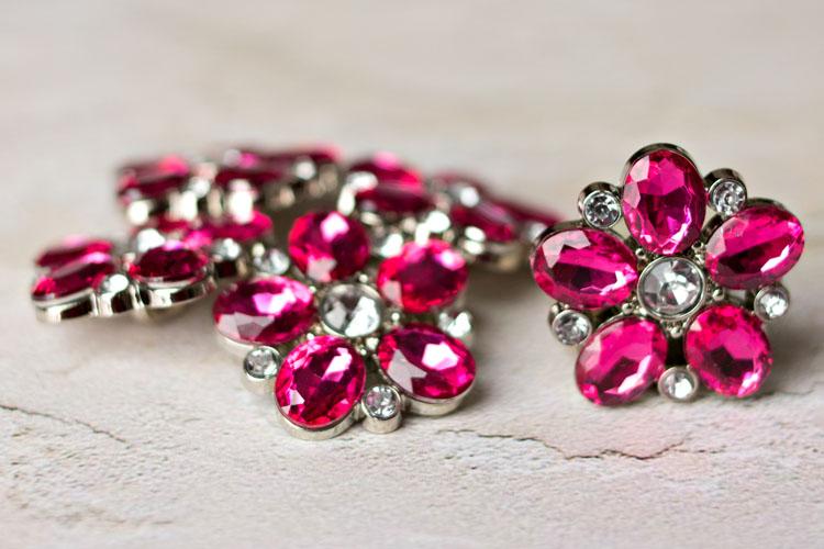 Sara - Hot Pink Rhinestone Button