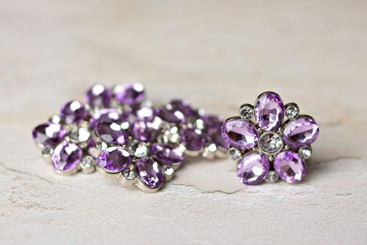 Sara - Lavender Rhinestone Button