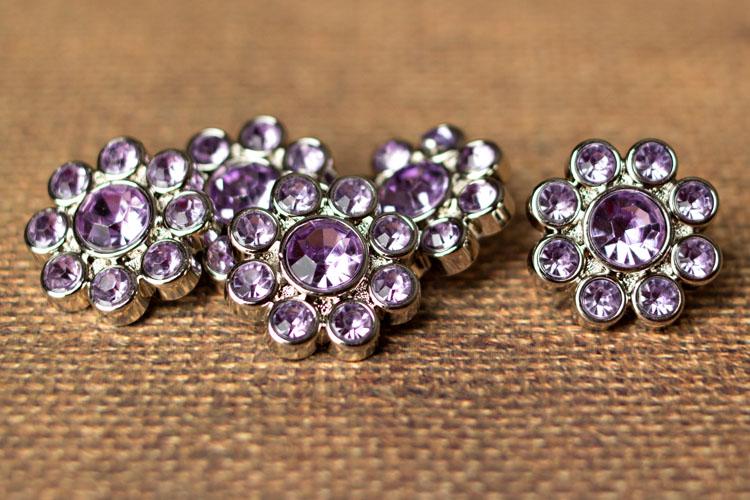 Ashlynn - Lavender Rhinestone Button