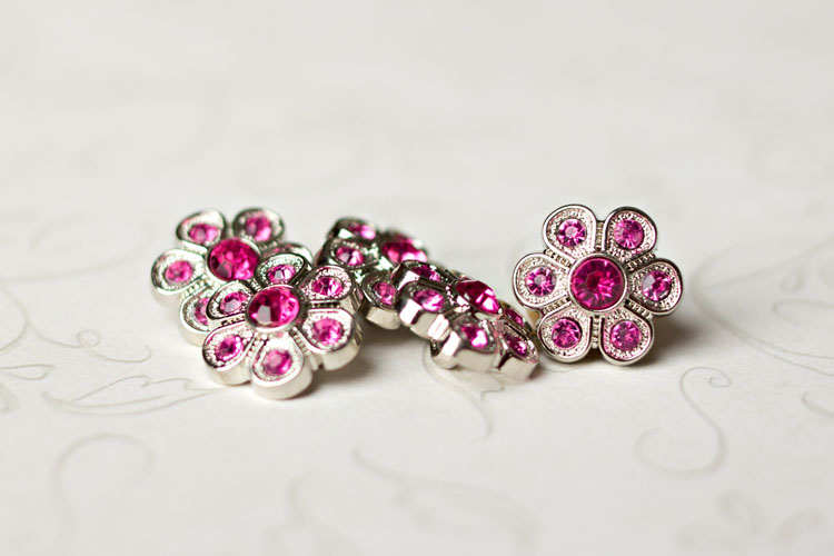 Christine - Hot Pink Rhinestone Button