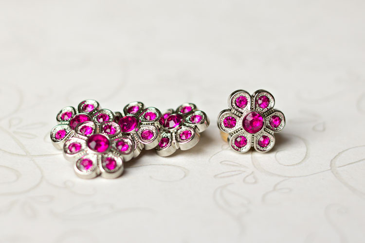 Christine - Fuchsia Rhinestone Button