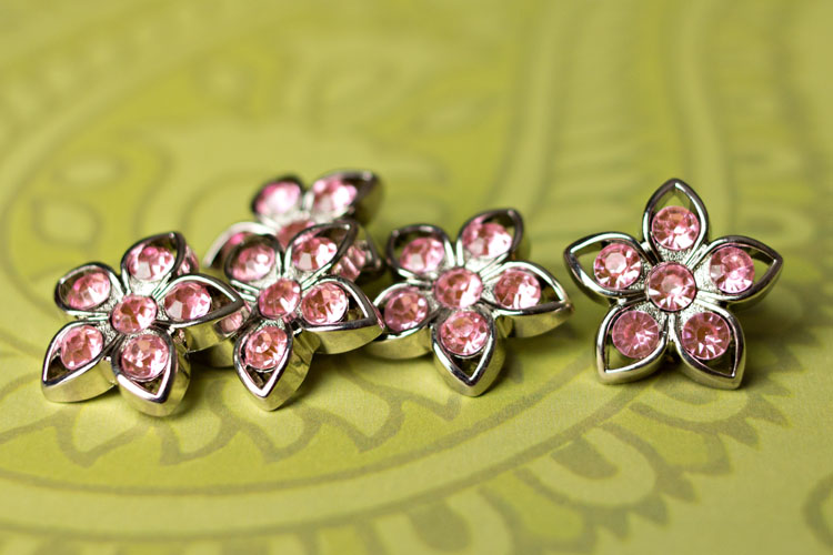 Kendall - Light Pink Rhinestone Button