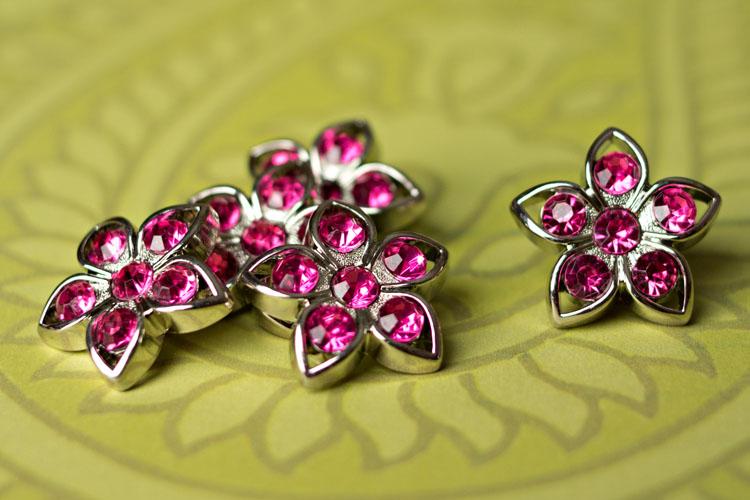 Kendall - Hot Pink Rhinestone Button