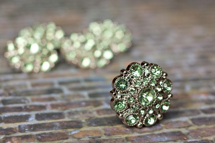 Special - Spring Green Rhinestone Button
