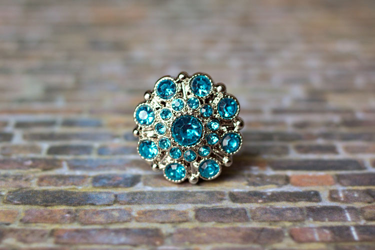 Special - Turquoise Rhinestone Button