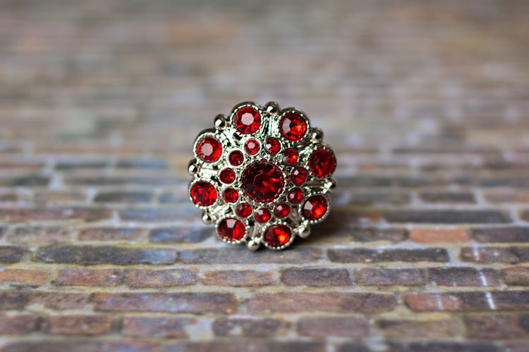 Special - Red Rhinestone Button