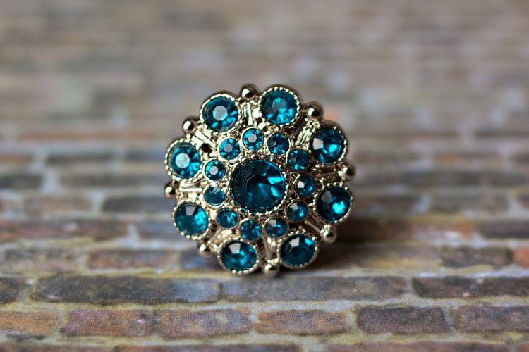 Special - Teal Rhinestone Button