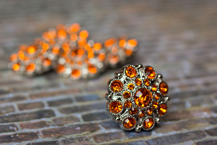 Special - Orange Rhinestone Button