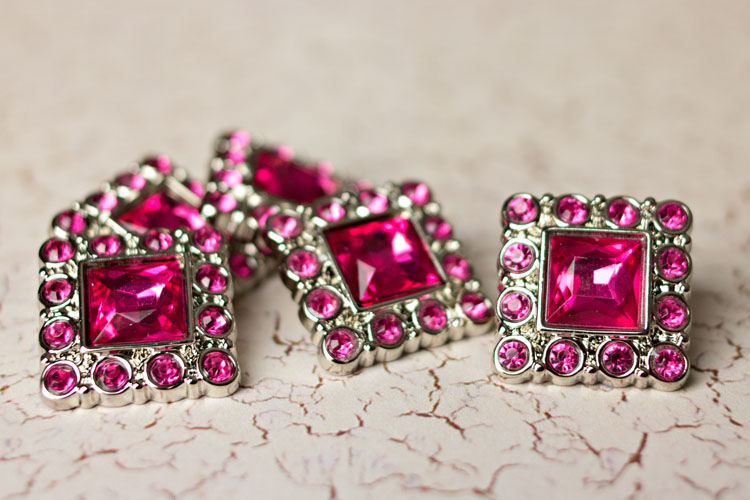 Logan - Hot Pink Rhinestone Button