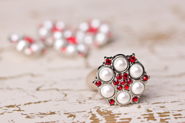 Abbey - White Pearl/Red Rhinestone Button