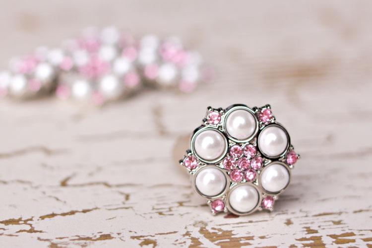 Abbey - White Pearl/Light Pink Rhinestone Button