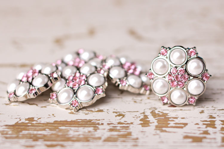 Abbey - White Pearl/Light Pink Rhinestone Button