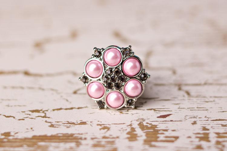 Abbey - Pink Pearl/Smoke Rhinestone Button