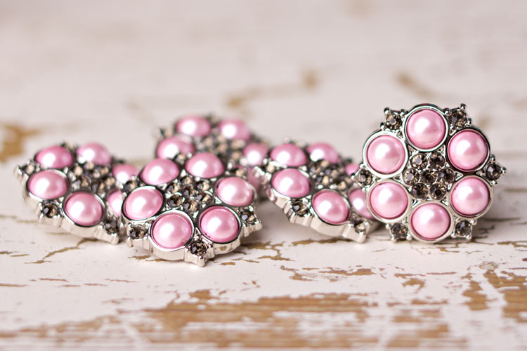 Abbey - Pink Pearl/Smoke Rhinestone Button
