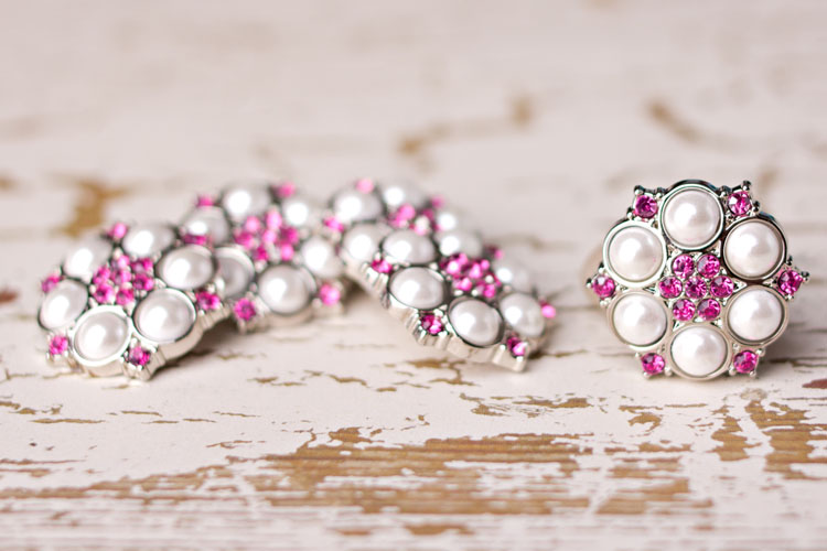 Abbey - White Pearl/Hot Pink Rhinestone Button