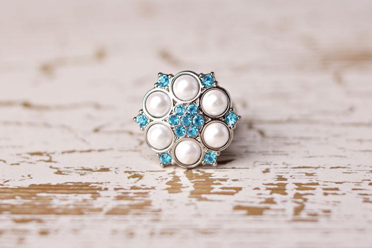 Abbey - White Pearl/Turquoise Rhinestone Button