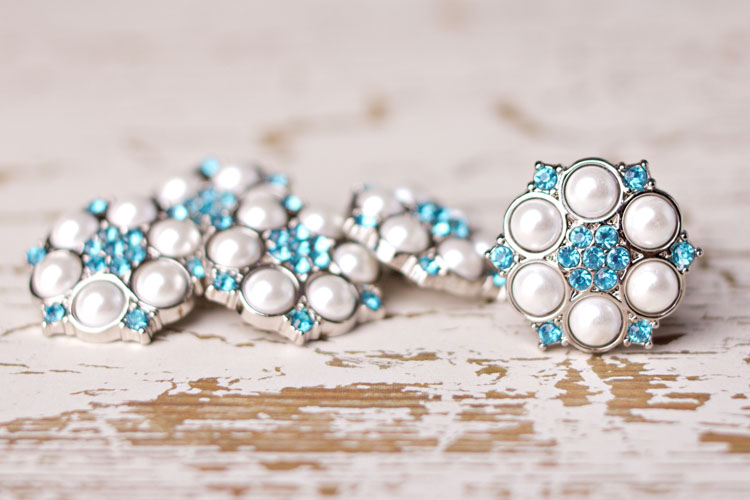 Abbey - White Pearl/Turquoise Rhinestone Button