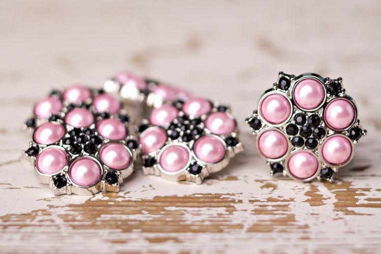 Abbey - Pink Pearl/Black Rhinestone Button