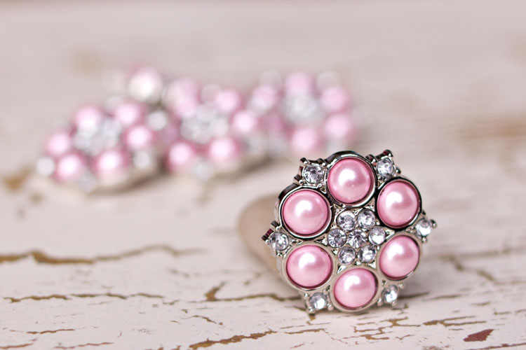Abbey - Pink Pearl/Clear Rhinestone Button