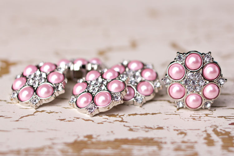 Abbey - Pink Pearl/Clear Rhinestone Button-Abbey - Pink Pearl/Clear Rhinestone Button