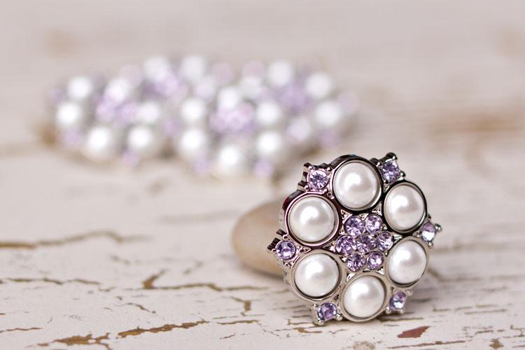 Abbey - White Pearl/Lavender Rhinestone Button