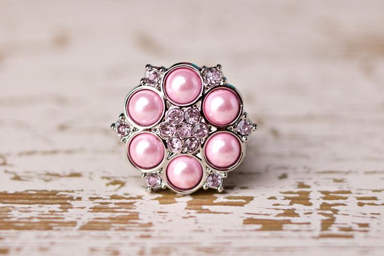 Abbey - Pink Pearl/Blushing Pink Rhinestone Button