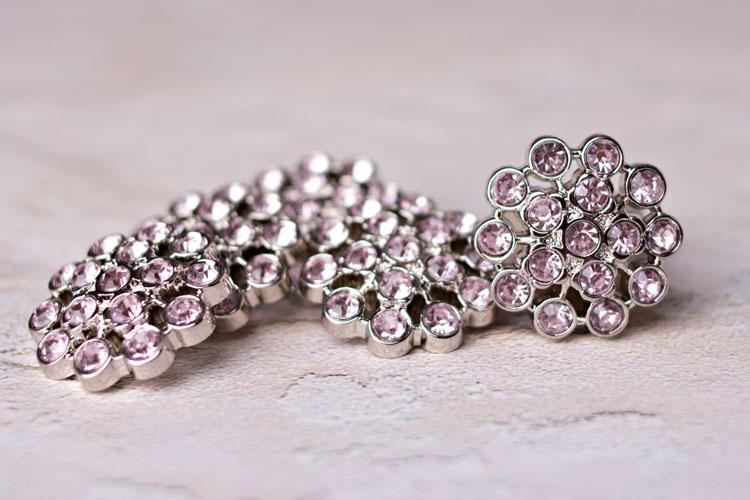 Aybreonn - Blushing Pink  Rhinestone Button