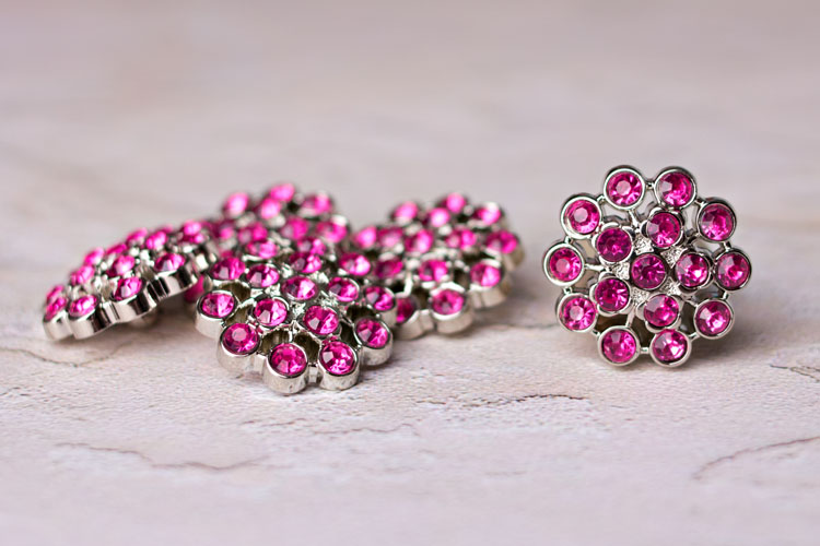 Aybreonn - Hot Pink Rhinestone Button