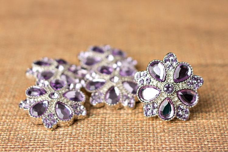 Roxanne - Lavender Rhinestone Button