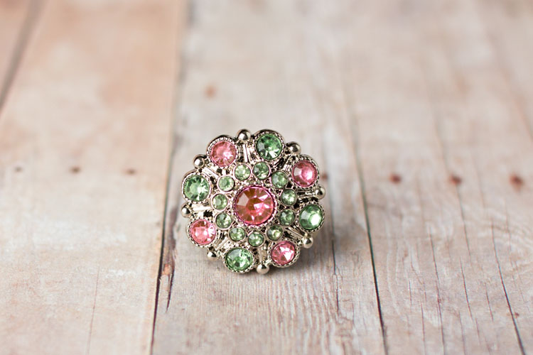 Special - Pink/Spring Green Rhinestone Button