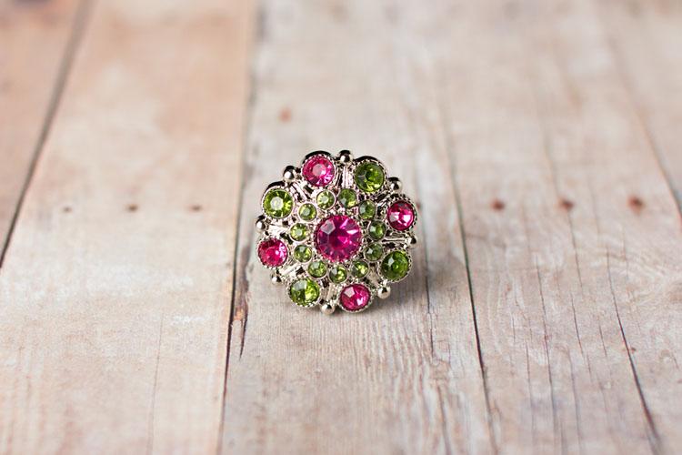 Special - Hot Pink/Artichoke Rhinestone Button