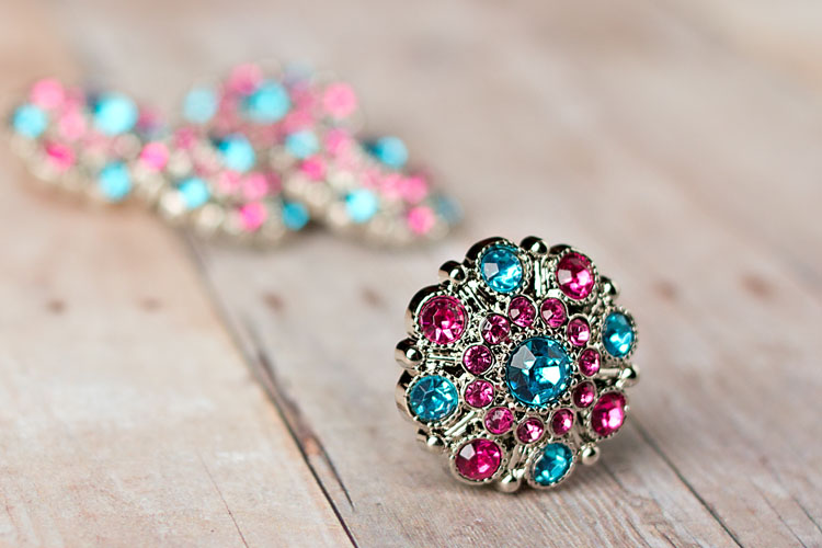Special - Turquoise/Hot Pink Rhinestone Button