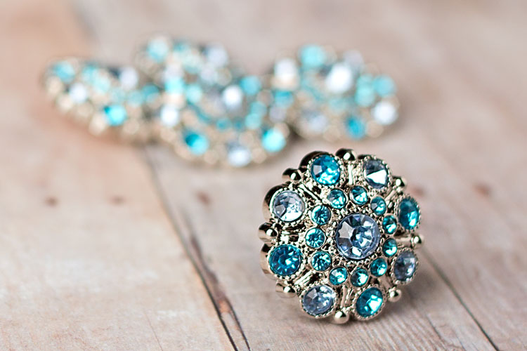 Special - Light Blue/Turquoise Rhinestone Button