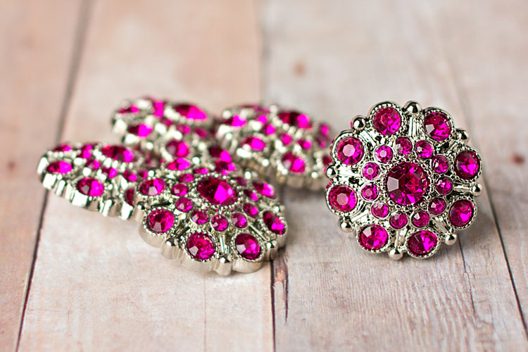 Special - Fuchsia/Hot Pink Rhinestone Button