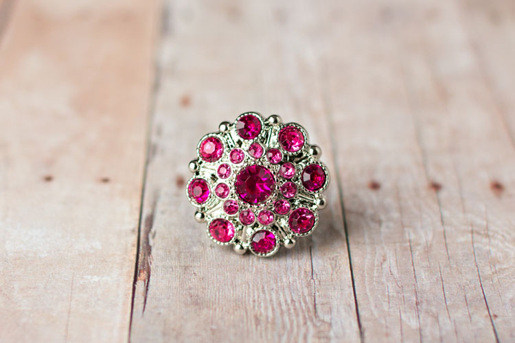 Special - Hot Pink/Light Pink Rhinestone Button