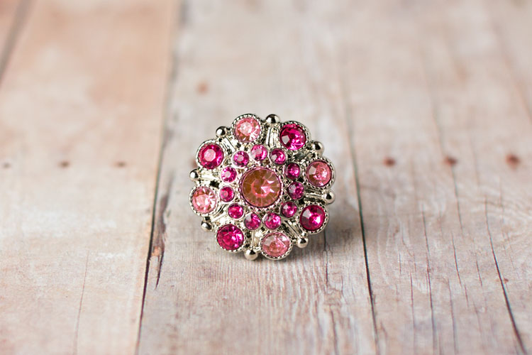 Special - Light Pink/Hot Pink Rhinestone Button