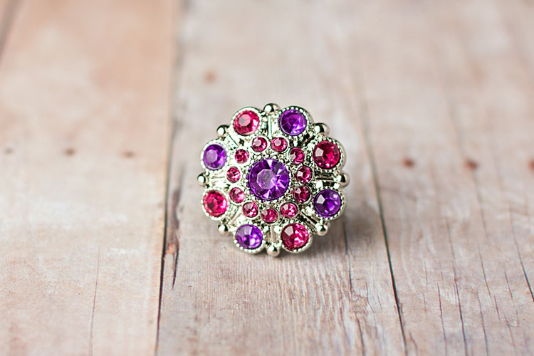 Special - Purple/Hot Pink Rhinestone Button