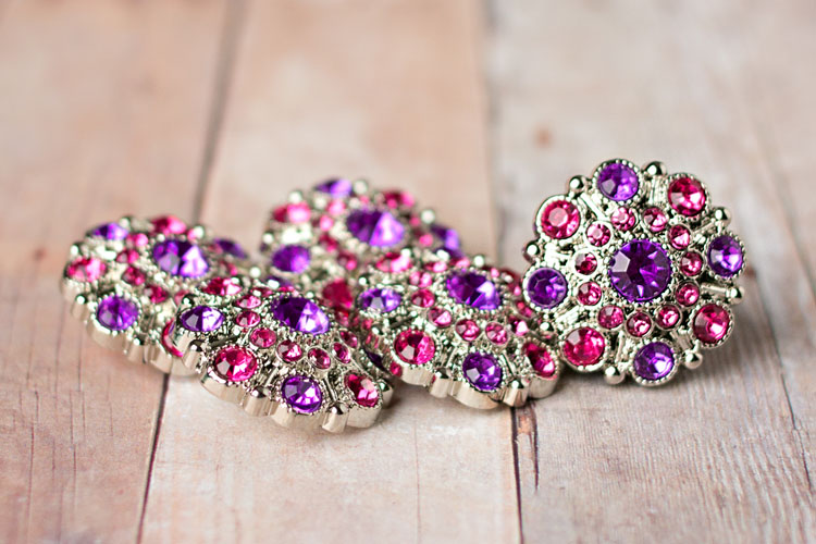 Special - Purple/Hot Pink Rhinestone Button