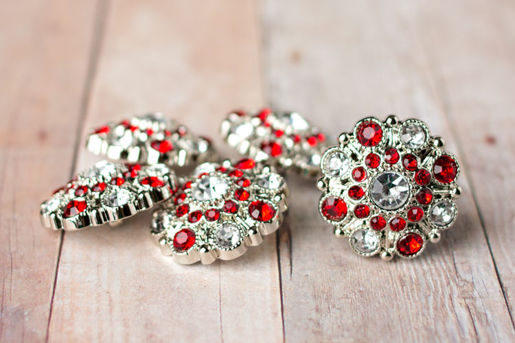 Special - Clear/Red Rhinestone Button
