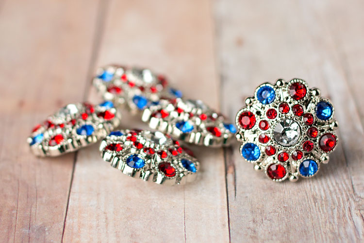 Special - Clear/Red/Blue Rhinestone Button