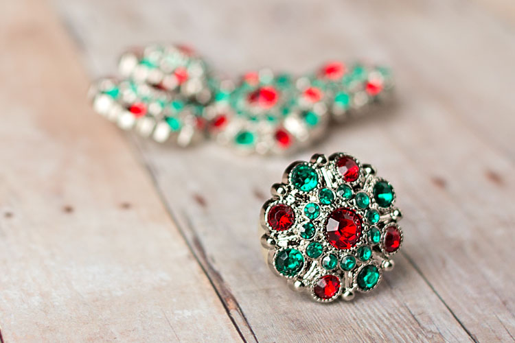 Special - Red/Green Rhinestone Button