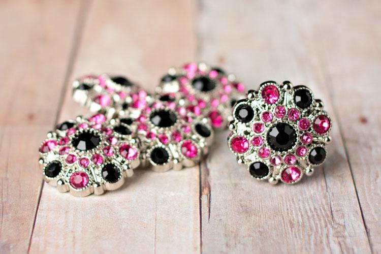 Special - Black/Hot Pink Rhinestone Button