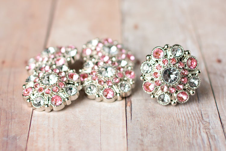 Special - Clear/Light Pink Rhinestone Button