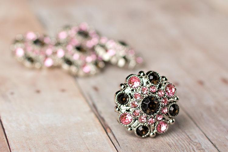 Special - Smoke/Light Pink Rhinestone Button